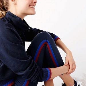 J. Crew Navy Racer Stripe Drawstring Leggings